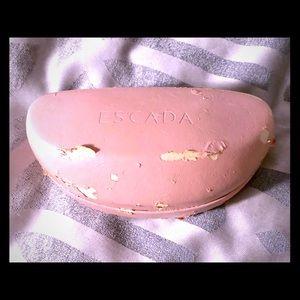 Escada pink leather sun/eyeglasses case